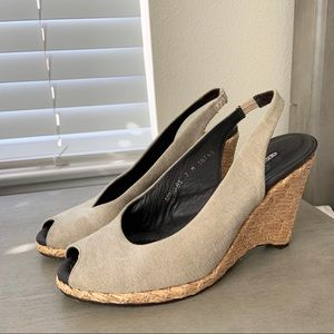 Donald J. Pliner Tan Beige Peep Toe Wedge Heels 7